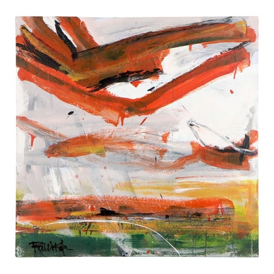 """Robbie Kemper Abstract Acrylic Painting """"Wash Over Green Orange"""""""