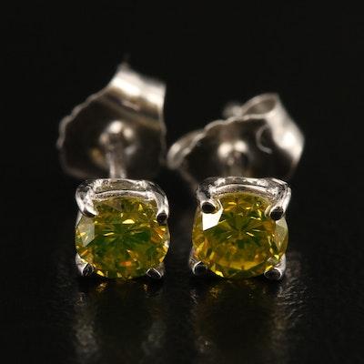14K 0.40 CTW Fancy Yellow Diamond Stud Earrings