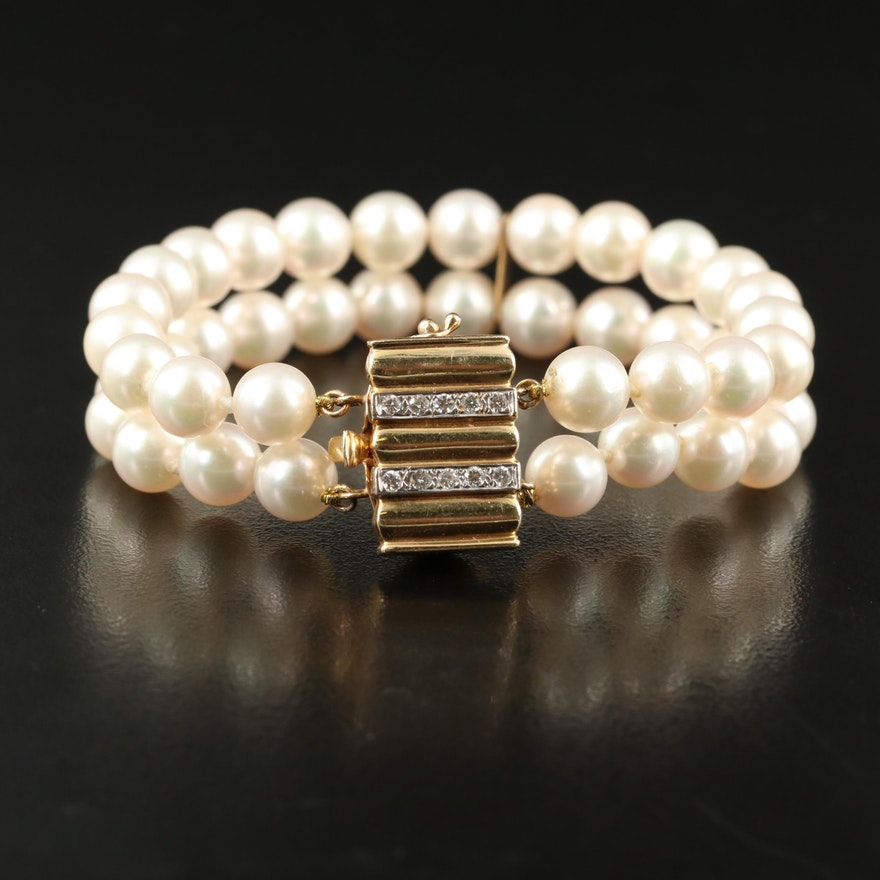 Vintage 14K Pearl and Diamond Double Strand Bracelet