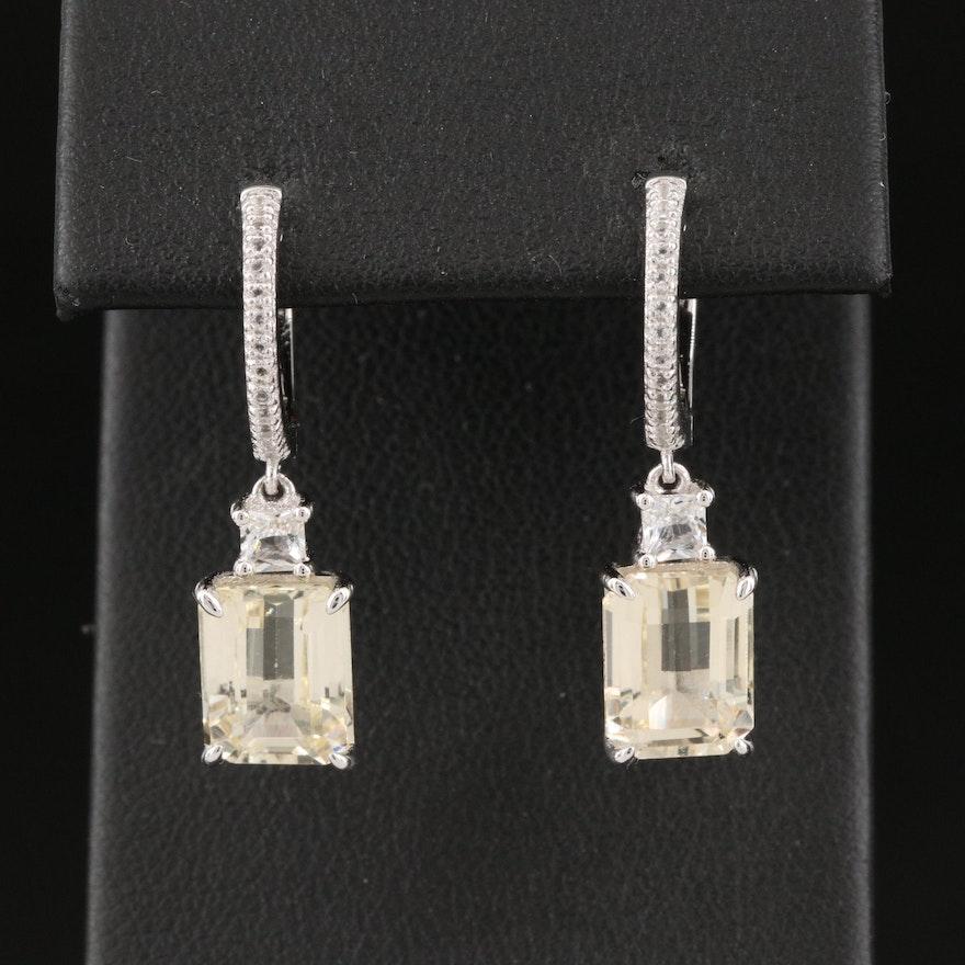 Sterling Silver Spodumene and Topaz Hoop Earrings with Drop