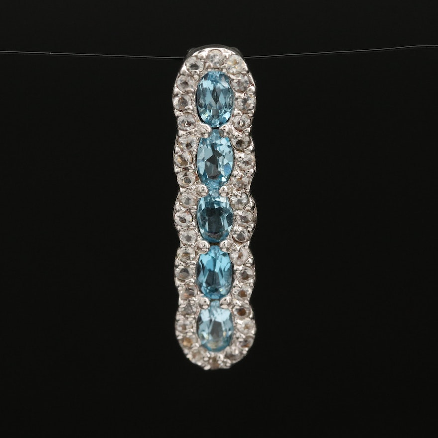 Sterling Swiss Blue and White Topaz Pendant
