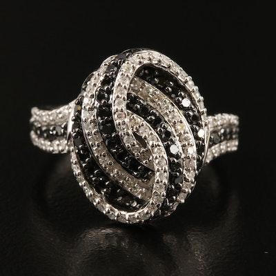 Sterling Silver Diamond Striped Ring