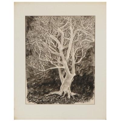 "Leonard Maurer Ink Wash Painting ""Winter Nude,"" 1966"