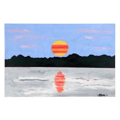 "J. Popolin Acrylic Painting ""Torch Lake Sunset,"" 2021"