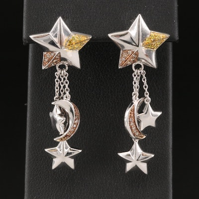 Sterling Silver Diamond Crescent Moon and Stars Earrings