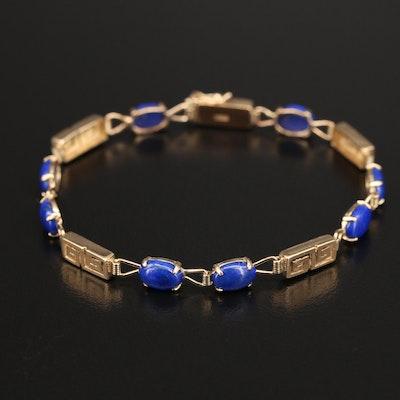 14K Lapis Lazuli Greek Key Motif Bracelet