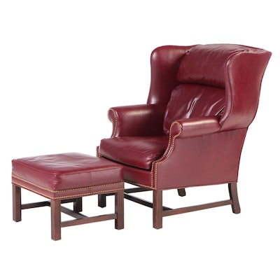 Huffman Koos Brass-Tacked Burgundy Leather Wingback Armchair and Ottoman