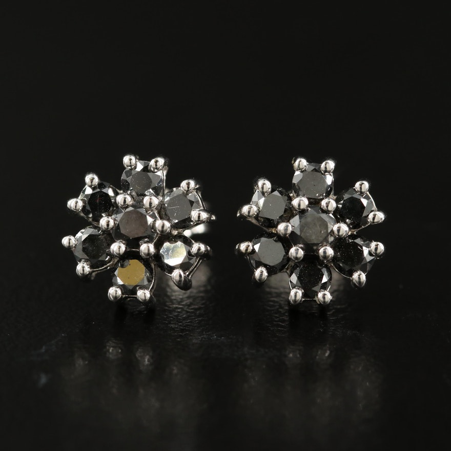 14K 1.00 CTW Floral Button Earrings