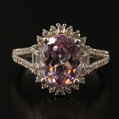 Sterling Kunzite and White Topaz Ring with Split Shoulders