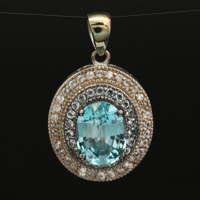 Sterling Silver Zircon and White Topaz Pendant