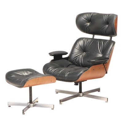 Selig Modernist Laminated Walnut and Faux-Leather Lounge Chair and Ottoman