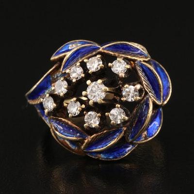 Vintage 14K Diamond and Enamel Foliate Ring