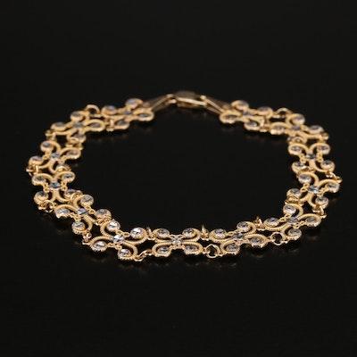 10K Two-Tone Scroll Link Bracelet