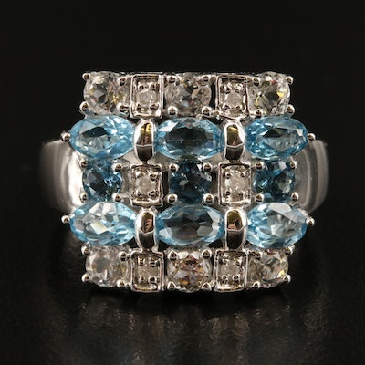 14K Swiss Blue and White Topaz Multi-Row Ring with Diamond Accents