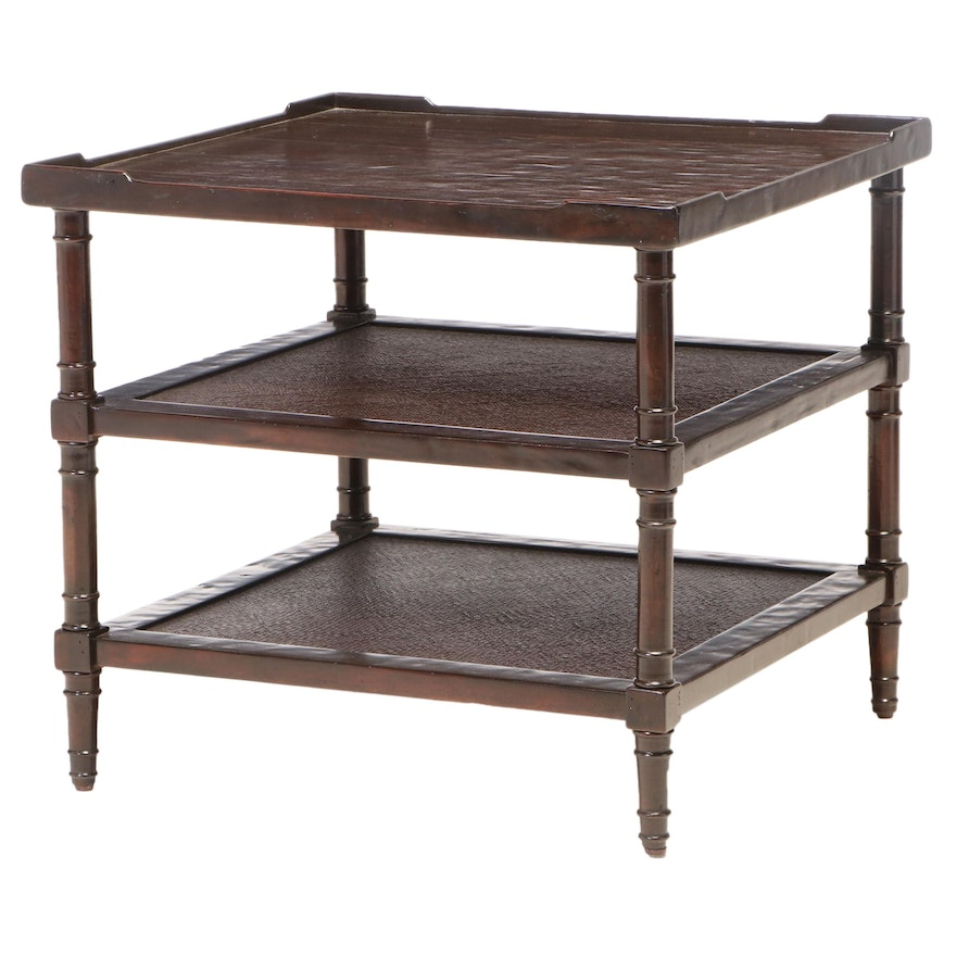"""Bernhardt """"Somerset"""" Hardwood and Caned Three-Tier Side Table"""