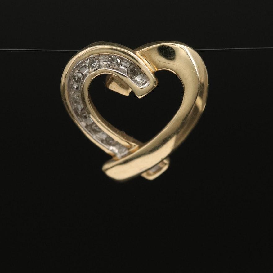 10K Diamond Heart Slide Pendant