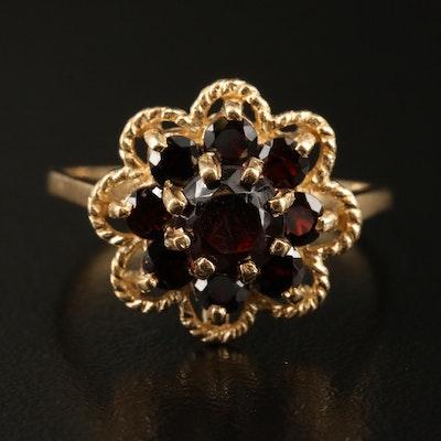 14K Garnet Ring with Scalloped Frame