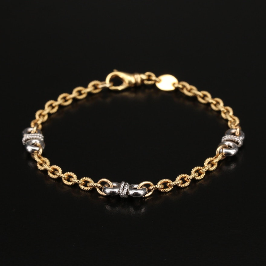Italian 14K Two-Tone Cable Chain Station Bracelet
