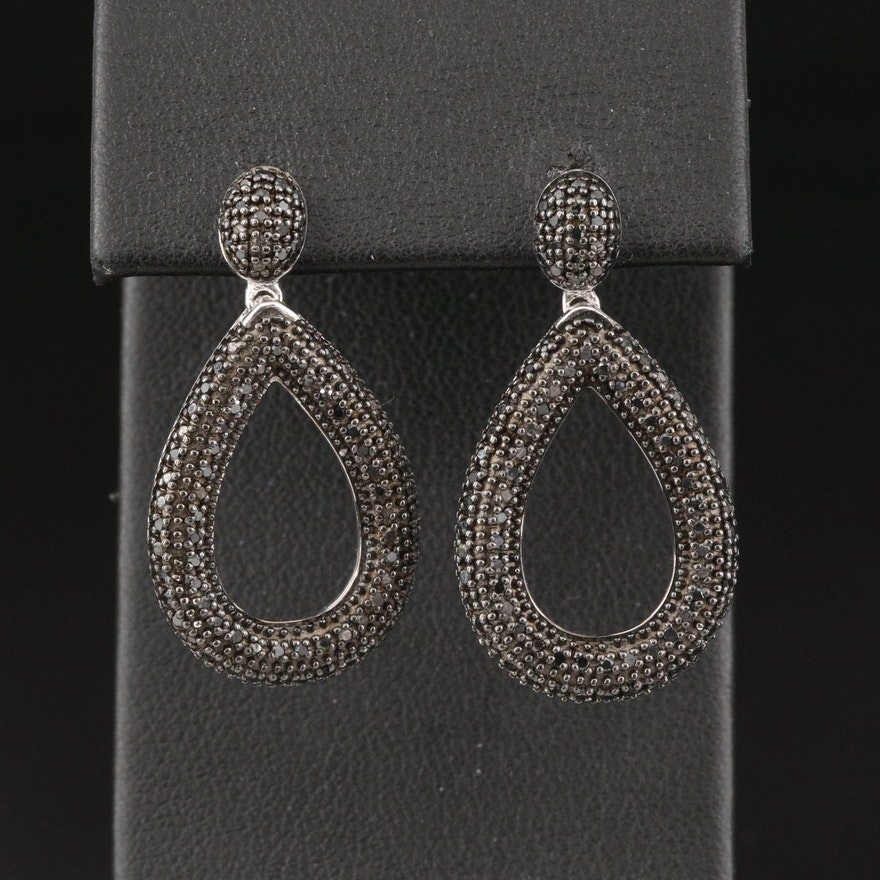 Sterling Silver Black Diamond Oval Drop Earrings