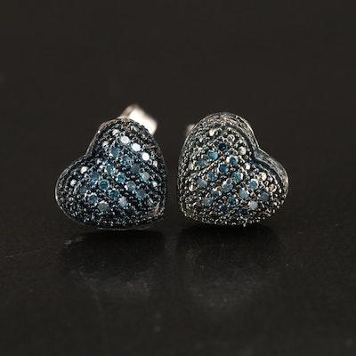 Sterling Diamond Heart Stud Earrings