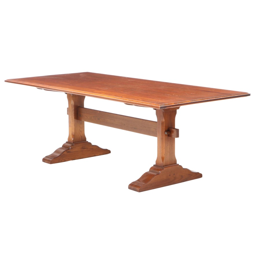 Wright Table Company Pine and Oak Trestle-Base Refectory Table, dated 1977