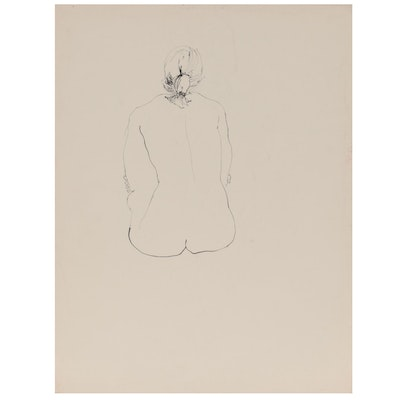John Tuska Figural Double-Sided Ink Drawing of Female Nude, Late 20th Century