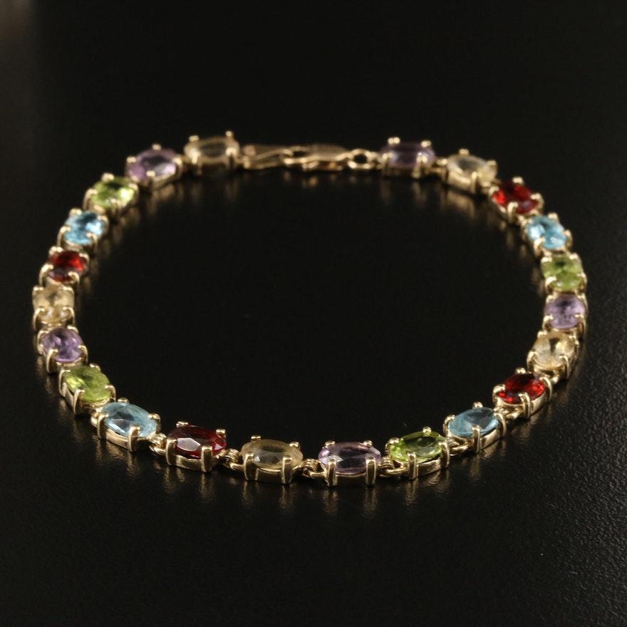 14K Gemstone Line Bracelet with Amethyst, Topaz, Garnet and Citrine