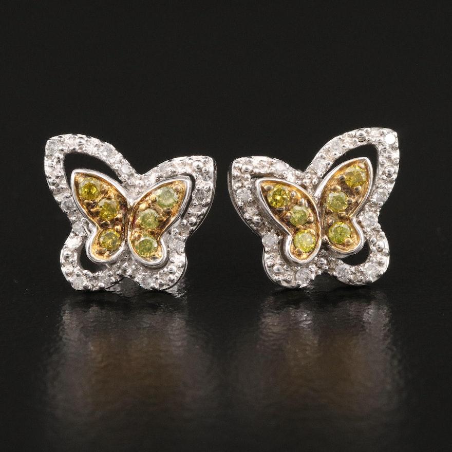 Sterling Silver Diamond Butterfly Earrings
