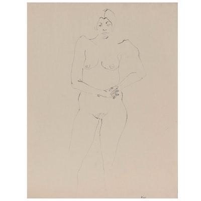 John Tuska Figural Ink Drawing of Standing Female Nude, Late 20th Century