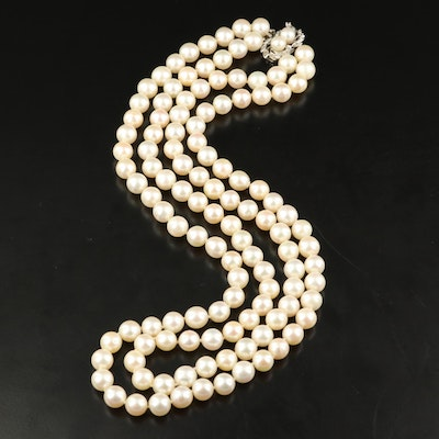 Vintage 14K Pearl and Diamond Double Strand Necklace