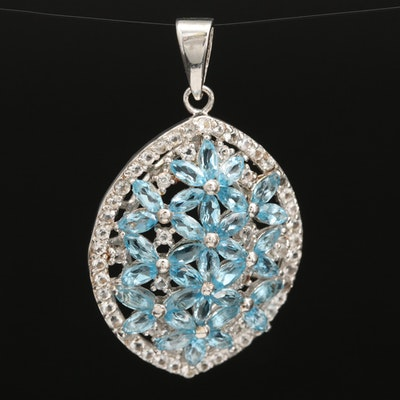 Sterling Silver Swiss Blue and White Topaz Openwork Pendant