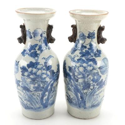 Chinese Crackle Glazed Decorated Ceramic Baluster Vases