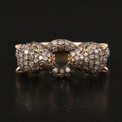 14K 1.06 CTW Diamond Panthers Ring