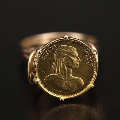 14K Ring with 20K Puerto Rican Gold Coin