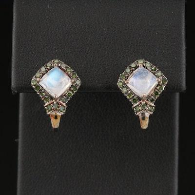 Sterling Silver Rainbow Moonstone and Diamond Earrings