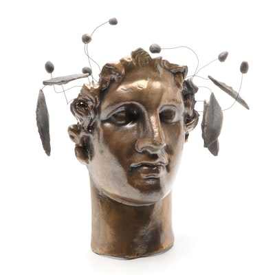 Plaster Mold of Face with Wire and Plaster Laurel Wreath Embellishment
