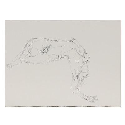 John Tuska Figural Ink Drawing, Late 20th Century
