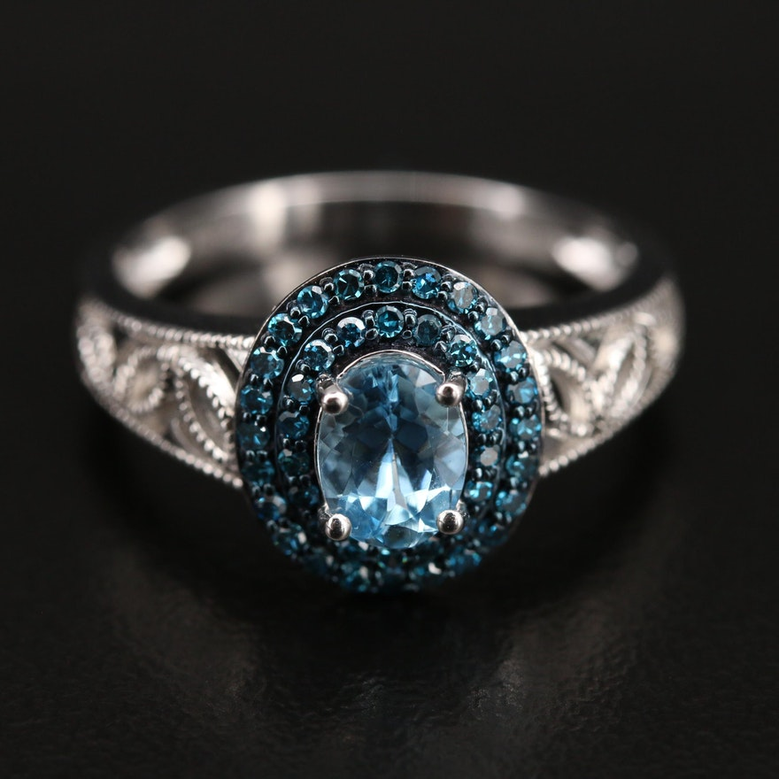 14K Aquamarine and Blue Diamond Ring