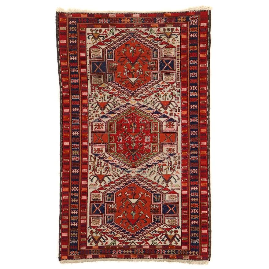 4' x 6'6 Handwoven Caucasian Kazak Soumak Area Rug