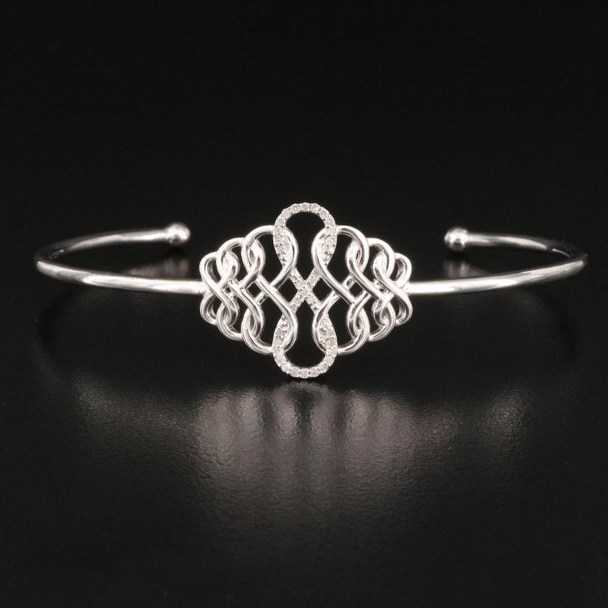 Eva LaRue Sterling  Infinity Symbol Cuff with Diamond Accents