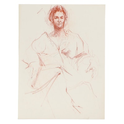 John Tuska Conté Crayon Portrait of Seated Woman, Late 20th Century