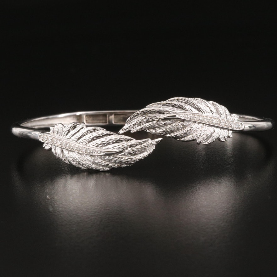 Eva LaRue Sterling and Diamond Hinged Feather Cuff