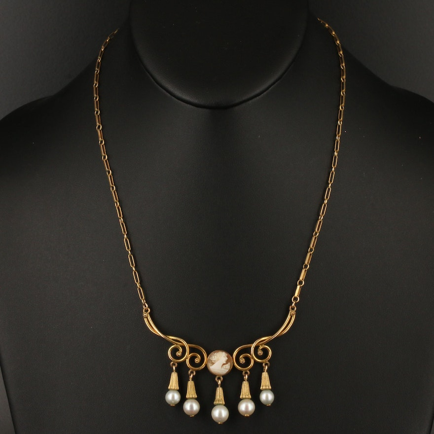 Shell Cameo and Pearl Fringe Necklace