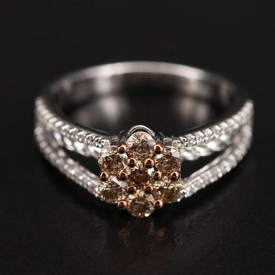 Sterling Diamond Spilt Shank Ring