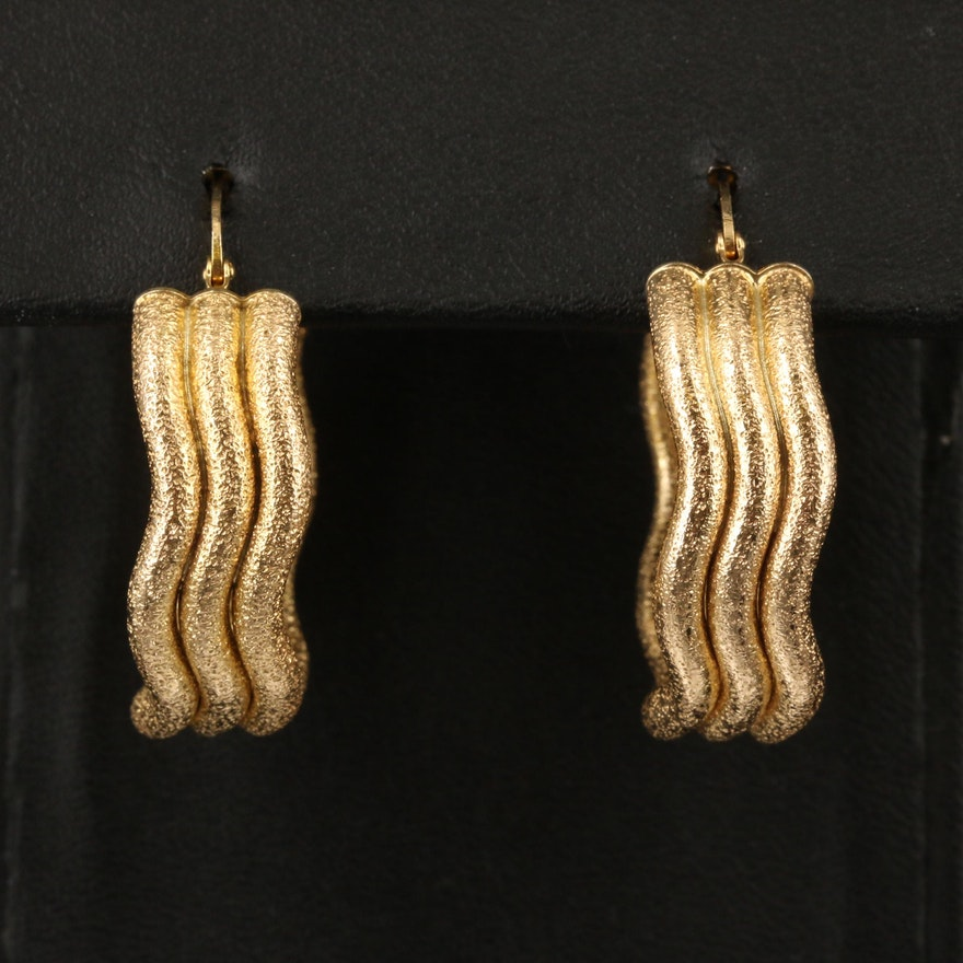 Italian 14K Triple Row Textured Wavy Hoop Earrings