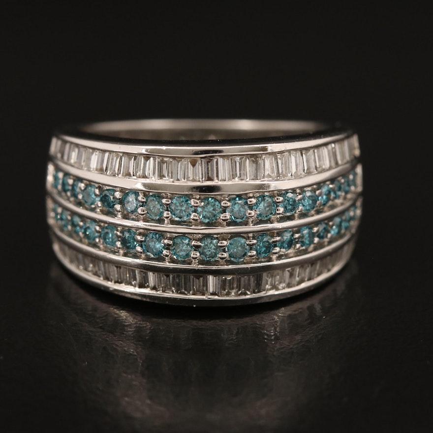 14K 1.27 CTW Diamond Multi-Row Ring