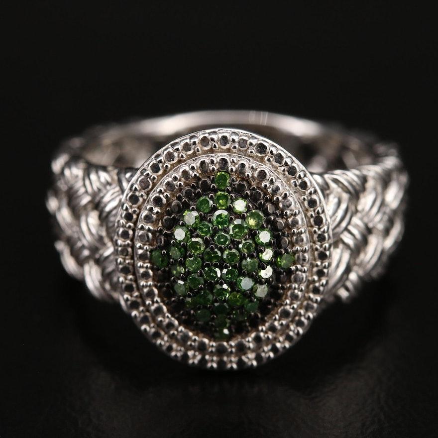 Sterling Basketweave Pavé Diamond Ring