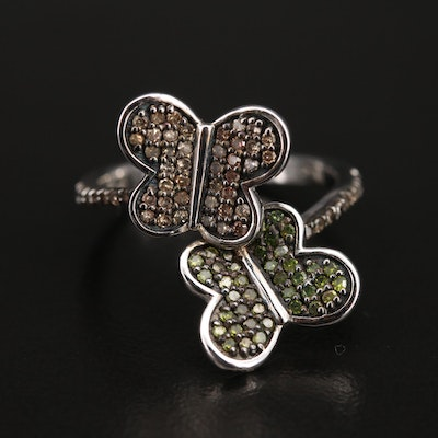 Sterling Diamond Bypass Style Butterfly Ring