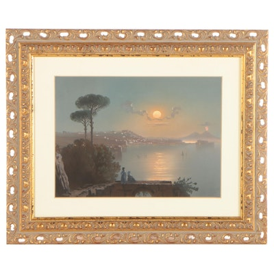 Watercolor Painting of Figures Overlooking Harbor