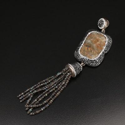 Sterling Pavé Labradorite, Druzy and Gemstone Tassel Pendant